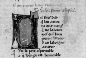 The beginning of Rutebeuf's author collection in BNF, fr. 837, f. 283vb Reproduced by courtesy of Bibliothèque nationale de France: http://gallica.bnf.fr/?lang=EN
