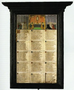 Bruges - Museum Saint Salvatorchurch: Panel with a text by Anthonis de Roovere (as published in Hogenelst and Van Oostrom 'Handgeschreven wereld' (2002))